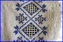 Romanian tablecloth with lace antique hand embroidered and hand woven tablecloth