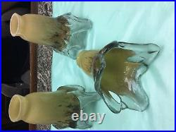 Set Of 3 Pieces Of Hand Blown Glass Lamp Shade Or Multi Color