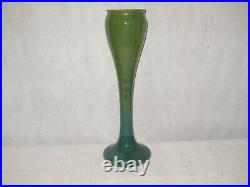 Signed 23 High Hand Blown Art Glass Vase Green Made In Romania