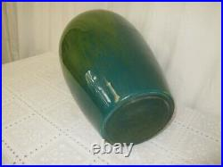Signed 24.5 High, 12 Wide Hand Blown Art Glass Vase Green Made In Romania