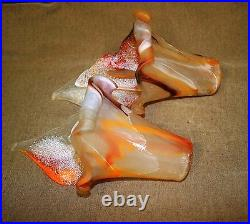 Signed Pair Of Hand Blown Glass Lamp Shades Orange-multicolor