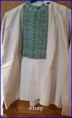 Traditional antique hand embroidered Romanian mans shirt