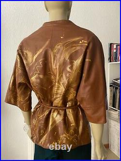 Uterque 100% sheep leather jacket cape with hand-painted Art SIZE M