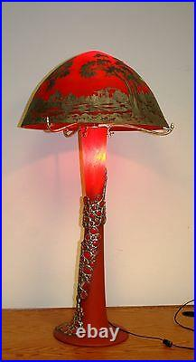 Vintage Art Deco Style Hand Made Glass Floor Lamp Red Overlay Silver Painting