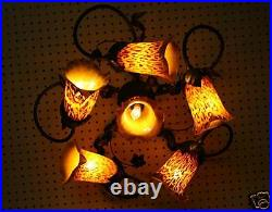 Wrought Iron Ceiling Lamp & Mouth Blown Glass Shades Crafted In Romania