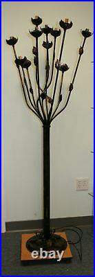 Wrought Iron Floor Lamp 11 Multi Color Glass Shades #2
