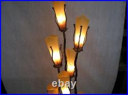 Wrought Iron Floor Lamp & 7 Signed Mouth Blown Amber Glass Shades