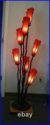 Wrought Iron Floor Lamp & 7 Signed Mouth Blown Red Glass Shades