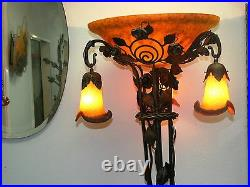 Wrought Iron Floor Lamp And Yellow Blown Glass Shades