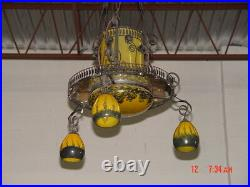Wrought Iron With Blown Glass Yellow Chandelier